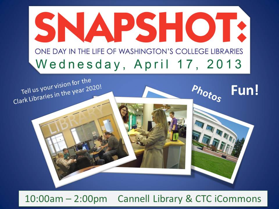 Snapshot Day poster, Wednesday April 17th, Cannell Library and CTC iCommons