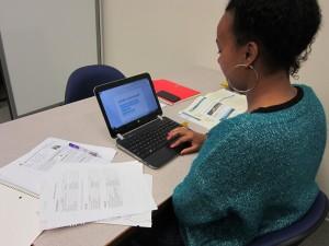 Woman using netbook