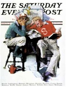 """Cramming,"" an image from the Saturday Evening Post"