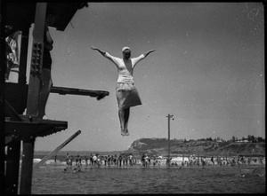 Woman taking a swim test