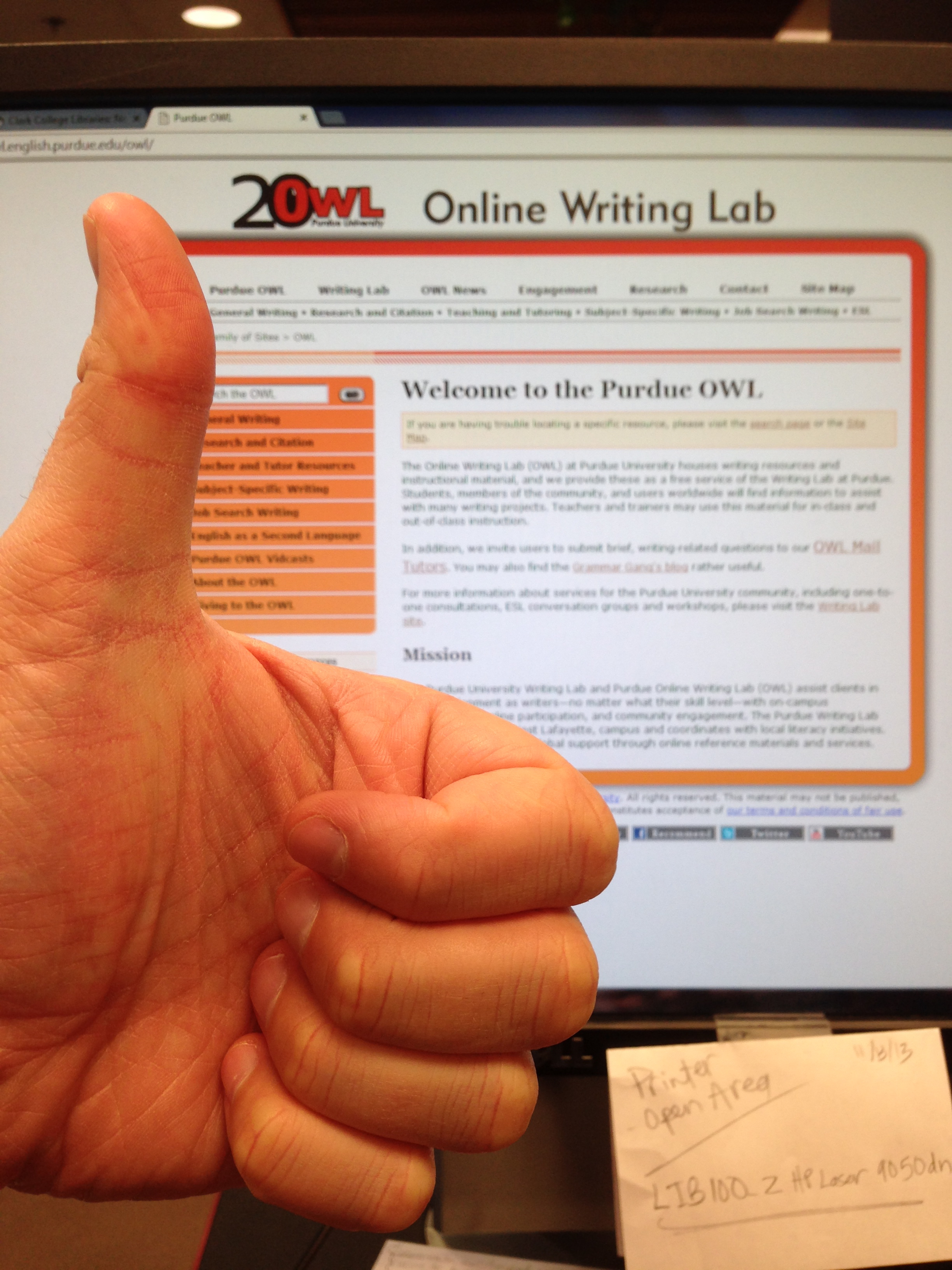 Purdue Owl Website With Thumbs Up Mla Citation Howto