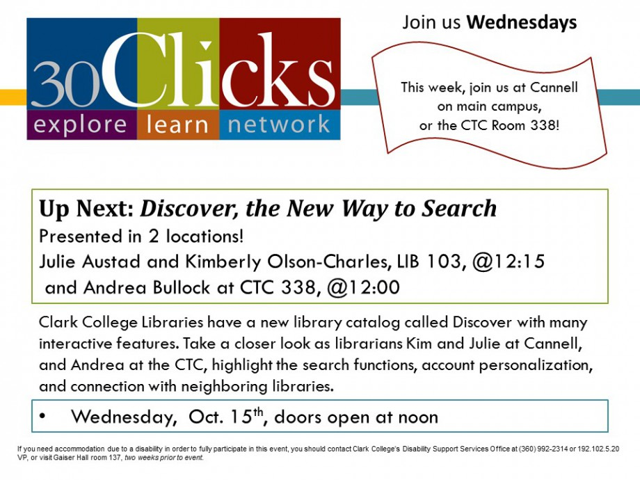 30 Clicks features the library catalog 'Discover'.