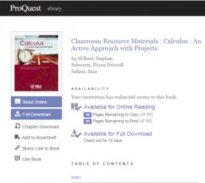 Calculus ebrary book