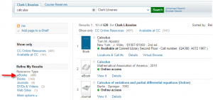calculus search in Discover - filter by ebooks