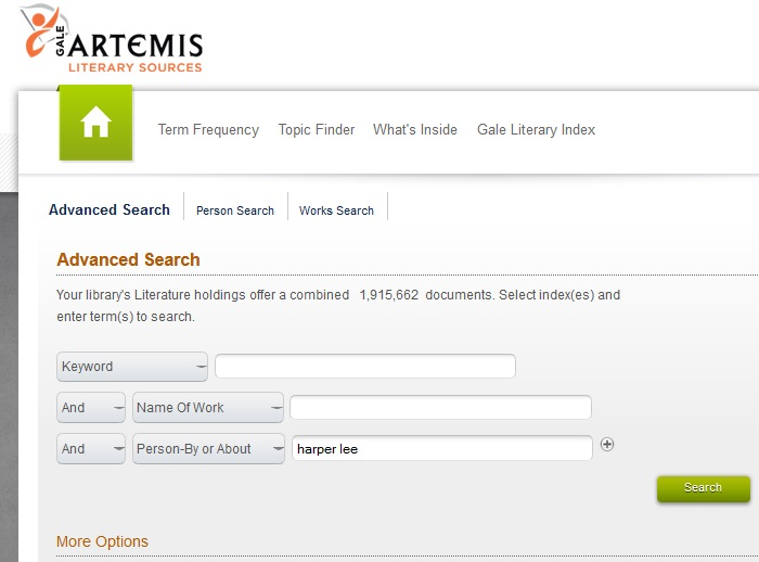 Artemis Literary Sources Advanced Search Options