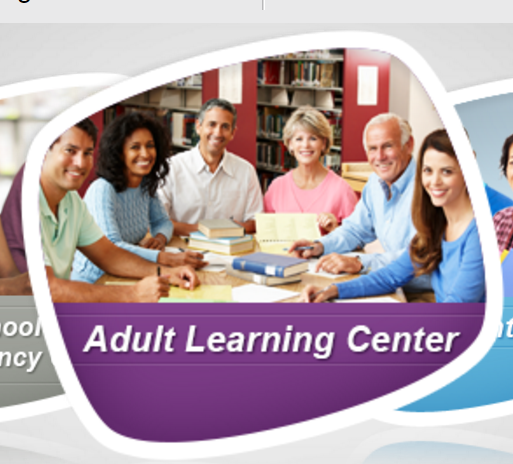 Picture of adults sitting and smiling around a table with books, text: Adult Learning Center