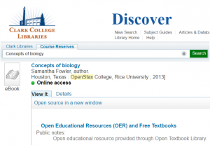 Concept of Biology record in Discover Library Catalog