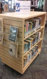 Popular reading cart at Cannell Library